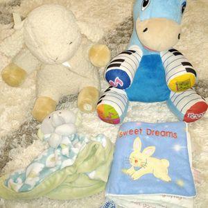 Nature sounds sheep, musical zebra, soft book, toy blanket for Sale in Alpharetta, GA