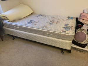 Twin Bed Frame, Twin Mattress and Box spring and Egg crate for Sale in Alexandria, VA