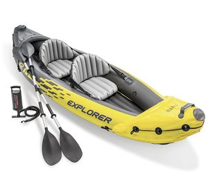 Intex Explorer K2 Kayak, 2-Person Inflatable Kayak Set with Aluminum Oars and High Output Air Pump for Sale in Cumming, GA