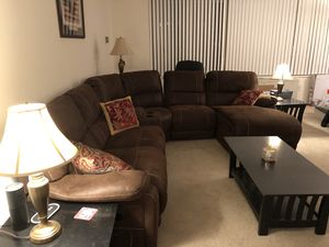 Sectional couch with chaise and recliner for Sale in Arlington, VA