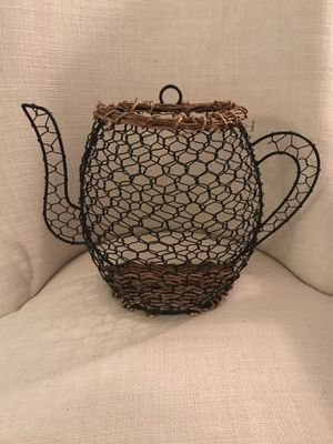Pretty metal/wicker coffee pot decor. Adorable in any kitchen. 10 in tall for Sale in Pembroke Pines, FL