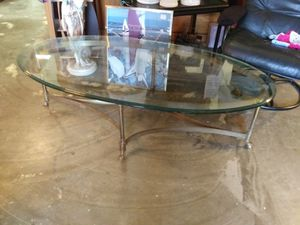 Hollywood regency oval glass top coffee table for Sale in Pinellas Park, FL