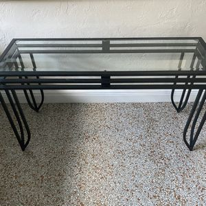 """One Glass black metal table, kitchen plant stand TV 16"""" deep, 4' wide, 26.5 tall indoor outdoor for Sale in Fort Lauderdale, FL"""