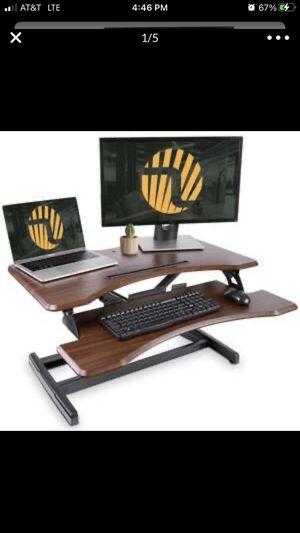 "Standing Desk Fezibo Dark Wood Ergonomic Tabletop 33"" Dual Monitors for Sale in Henderson, NV"