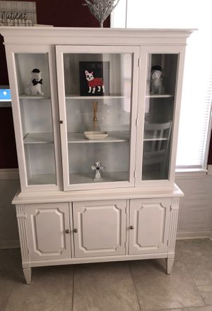 Refurbished White Antique China Cabinet for Sale in Detroit, MI