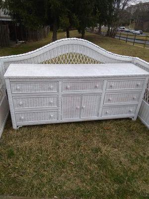 White Wicker Head Board and Dresser for Sale in Germantown, MD