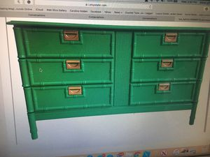 Kelly green dresser faux bamboo for Sale in Minooka, IL