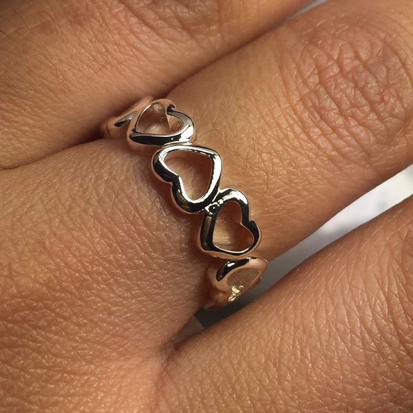 Sterling silver plated hearts ring