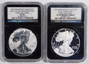 2012 S Silver Eagle (2 Coin Set) Certified PERFECTION By NGC (Proof) PF 70 & Reverse Proof PF 70 UC for Sale for sale  Fort Lee, NJ