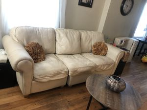 White sectional leather couch for Sale in Bedford Park, IL