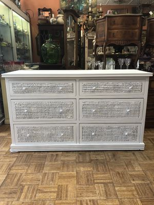 "Vintage credenza white wicker rattan style 58 x 21 x 33"" for Sale in San Diego, CA"