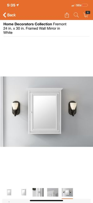 Home Decorators Collection Fremont 24 in. X 30. In. Framed Wall Mirror in White for Sale in Long Beach, CA
