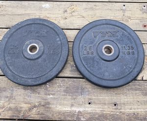 PAIR OF 25 POUND VTX BRAND OLYMPIC BUMPER 2 INCH HOLE WEIGHT PLATES for Sale in Fort Worth, TX