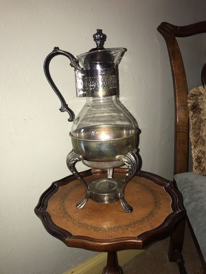 Antique Silver Plate Glass Tipping Carafe for Sale in Huntington Woods, MI