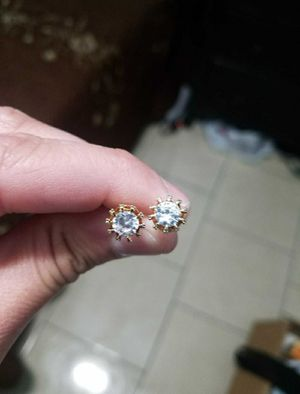 925 Sterling Silver and Gold Diamond Crown stud earrings for Sale in Inglewood, CA
