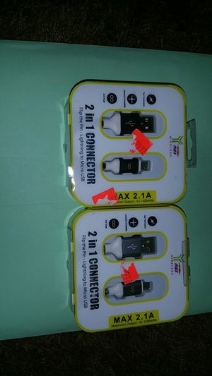 2 in 1 charger works with iPhone and android for Sale in Laveen Village, AZ