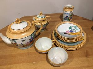 Hand painted Japanese dish set with tea pot, creamer and vase for Sale in Meriden, CT