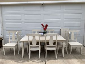 Farmhouse Dining Room Table, Kitchen Table and Chairs and Leaf for Sale in Auburn, CA