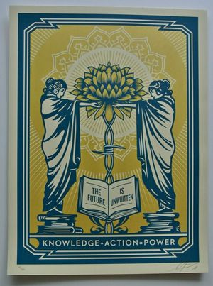 KNOWLEDGE + ACTION (BLUE/GOLD) : SCREEN PRINT : SIGNED : OBEY : SHEPARD FAIREY for Sale in East Wenatchee, WA