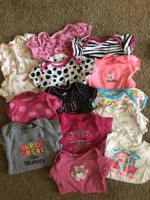 Assorted baby clothes and cozy car seat cover for Sale in Port Griffith, PA