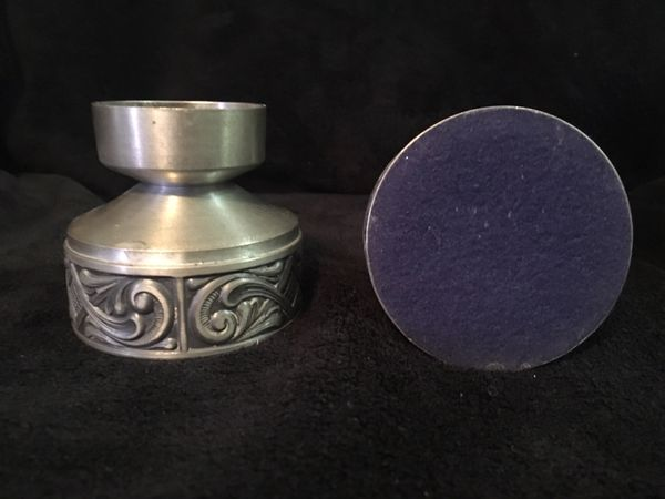 Pair of Vintage Gothic Pewter Candlestick Holders