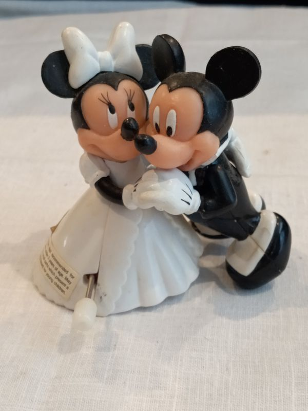 Vintage Disney Mickey Mouse & Minnie Mouse Bride Groom Wedding Dance Wind Up