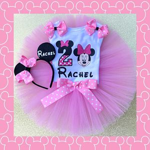 Minnie Mouse Pink & White Polkadot Birthday Outfit with Headband Ears for Sale in Long Beach, CA