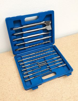 New $23 Tool Set 17pcs SDS Plus Rotary Hammer Drill Bits Chisel Concrete Masonry Hole for Sale in Whittier, CA