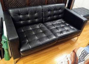 Retro modern black leather sofa and ottoman for Sale in Washington, DC