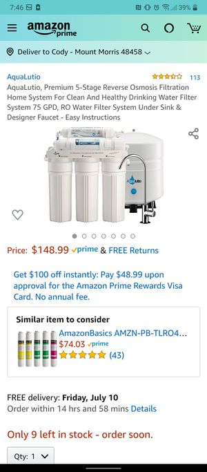 Aqualutio premium 5 stage reverse osmosis water filtration system for Sale in Mount Morris, MI