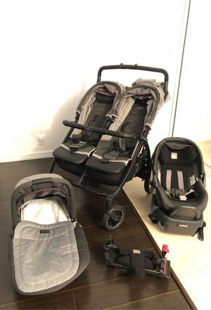 Complete PegPerego Baby Kit double Stroller , car seat and Bassinet for Sale in Key Biscayne, FL