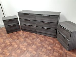 NEW GRAY DRESSER AND TWO NIGHTSTANDS for Sale in Pompano Beach, FL