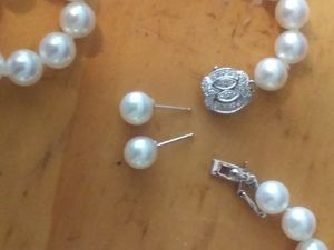 Pearls Necklace with diamond clasp set & Pearl Earrings for Sale in Lithonia, GA