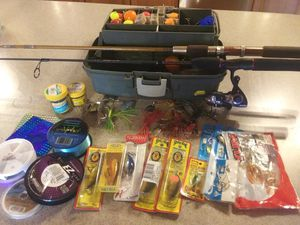 Fishing tackle box with poles and lures for Sale in Spokane Valley, WA