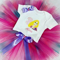 Baby Girl Tutu Set.Custom embroidery Rapunzel Design Baby Girl Tutu Skirt for Sale in Hialeah,  FL