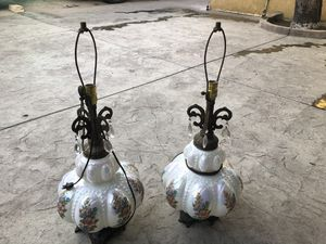 Vintage Glass, Brass Table Lamp for Sale in Los Angeles, CA
