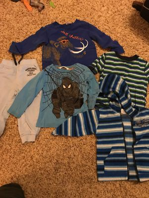 2t Boys clothing sold together five pieces three long sleeve shirts one pants one hooded fleece jacket for Sale in Scottsdale, AZ