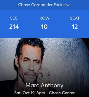 Mar Anthony On Saturday Oct 19, 2019 Concert for Sale in San Francisco, CA