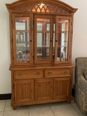 Wood china cabinet (lights up) $100 for Sale in Miami, FL