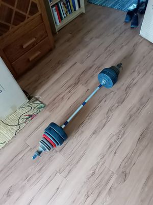Bar and weights 80lbs total for Sale in Fresno, CA