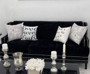 Black Sofa Couch With Silver Color Metal Studs for Sale in Miami,  FL