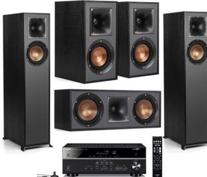 Klipsch 5 Speaker Home Theater System with Yamaha RX-V485 5.1 Channel Receiver WiFi for Sale in Denver, CO