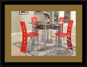 Red counter height table with 4 chairs for Sale in Hyattsville, MD