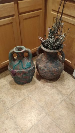 Vases, one with flowers/ decorative sticks for Sale in Peoria, AZ