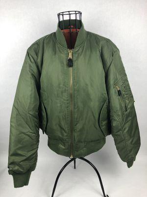 Flyer Bomber MA-1 Jacket Large Vintage USAF Reversible Mens Medium Green Orange for Sale for sale  Orlando, FL