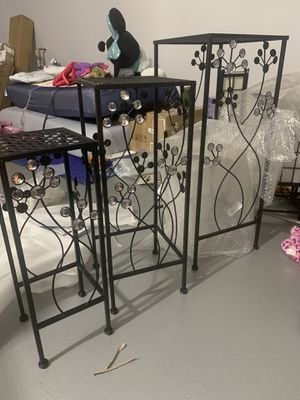 3 matching plant stand - metal with studded stone for Sale in Las Vegas, NV
