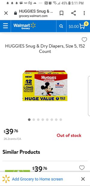 Huggies snug and dry diapers size 5 for Sale in Portland, OR