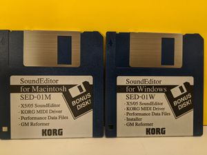 2 Korg Sound Editor Floppy Discs - 1 for Windows & 1 for Mac Computers for Sale in Mount Prospect, IL