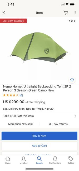 Nemo Hornet Ultralight Backpacking Tent 2P 2 Person 3 Season Green Camp New for Sale in Los Angeles, CA