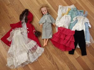 Vintage (late 1950s) doll plus clothing and wood case for Sale in McLean, VA